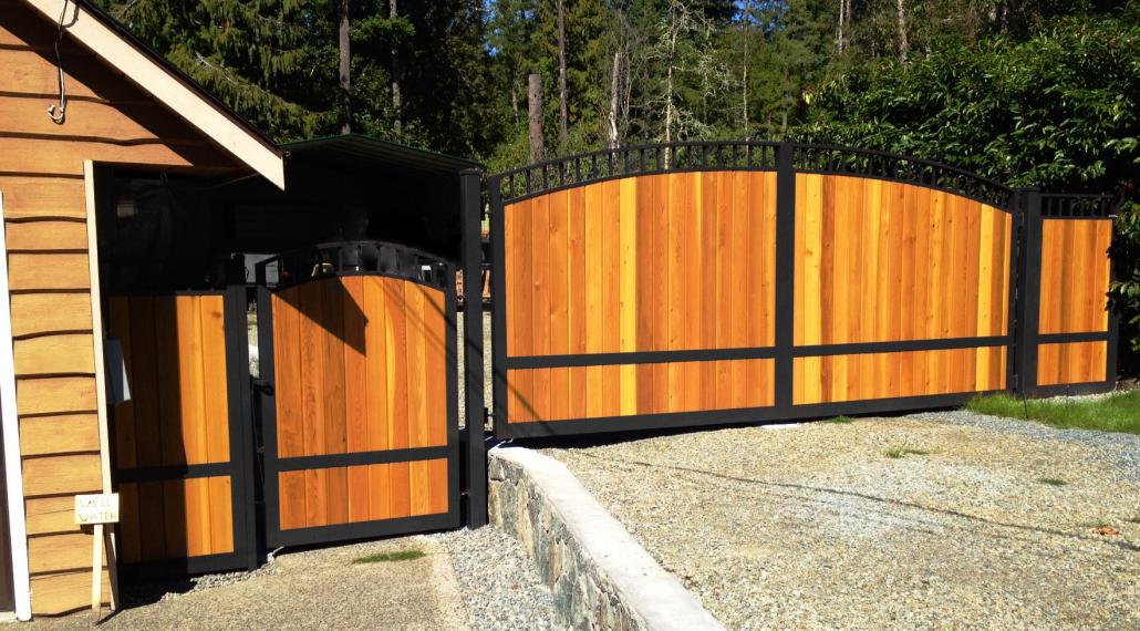 Aluminum Frame Gates With Cedar