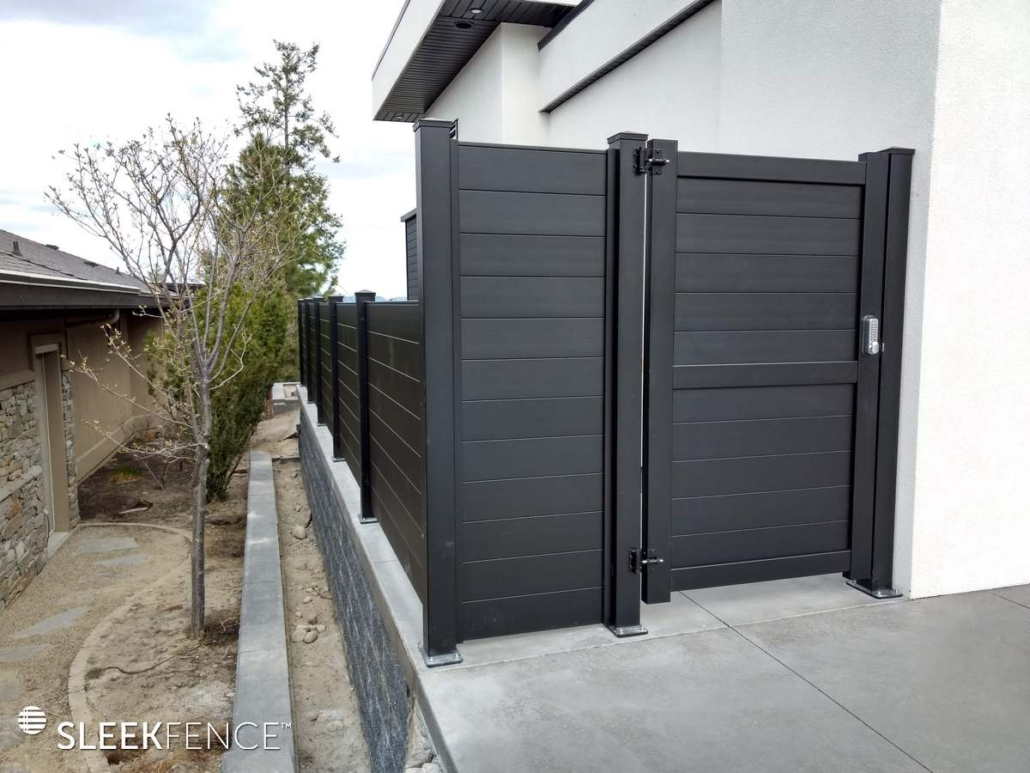 Black privacy gate with code lock
