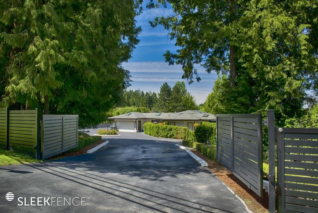 Horizontal slat fence and driveway gate