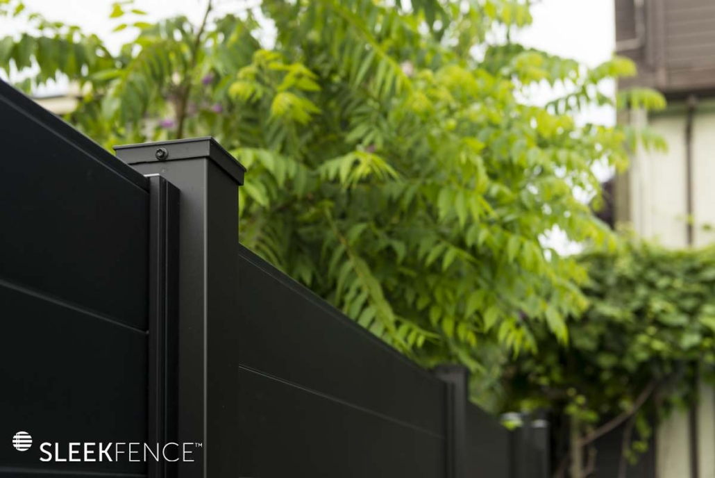 Modern black privacy fence