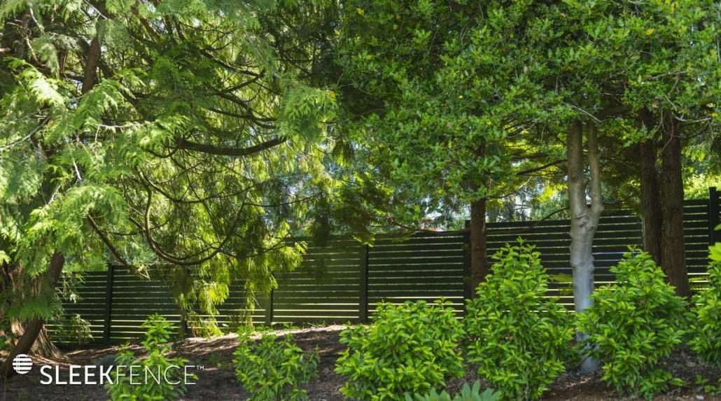 Sleek Screen fence in garden